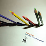 someone else / pen caps and colored pencils (foundsound)